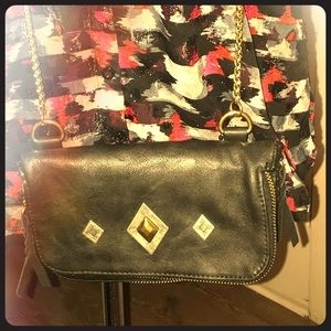 NWT Black leather crossbody bag with unique detail